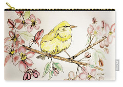 Warbler In Apple Blossoms Carry-all Pouch by Maria Urso