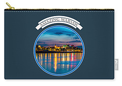 Carry-all Pouch featuring the photograph Warsaw Souvenir T-shirt Design 1 Blue by Julis Simo