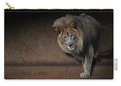 Carry-all Pouch featuring the photograph Was That My Cue? - Lion On Stage by Debi Dalio