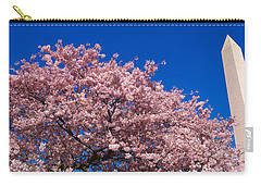 Washington Monument & Spring Cherry Carry-all Pouch by Panoramic Images