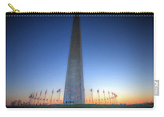 Carry-all Pouch featuring the photograph Washington Monument At Sunset by Shelley Neff