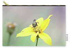 Carry-all Pouch featuring the photograph Wasp On Coreopsis by Trina Ansel