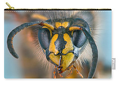 Carry-all Pouch featuring the photograph Wasp Portrait by Alexey Kljatov