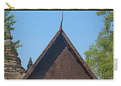 Carry-all Pouch featuring the photograph Wat Jed Yod Phra Ubosot Teakwood Gable Dthcm0968 by Gerry Gantt