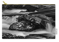 Water Around Rocks In Black And White Carry-all Pouch