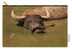 Carry-all Pouch featuring the photograph Water Buffalo Sleeping by Chris Flees