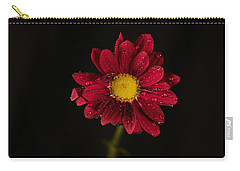 Carry-all Pouch featuring the photograph Water Drops On A Flower by Jeff Swan