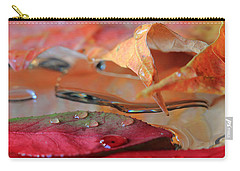 Water Drops On Autumn Leaves Carry-all Pouch