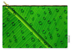 Carry-all Pouch featuring the painting Water Drops On Palm Leaf by Georgeta Blanaru