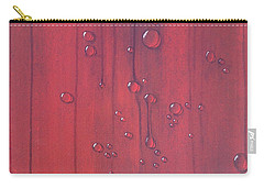 Water Drops On Red Carry-all Pouch by T Fry-Green
