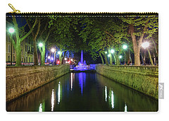 Carry-all Pouch featuring the photograph Water Fountain At Night by Scott Carruthers