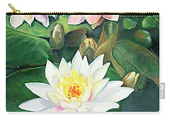 Carry-all Pouch featuring the painting Water Lilies And Koi by Marlene Book