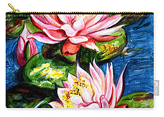 Carry-all Pouch featuring the painting Water Lilies  by Harsh Malik