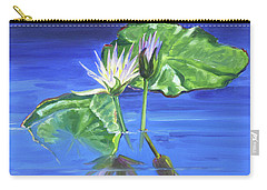 Water Lilies In Blue Carry-all Pouch