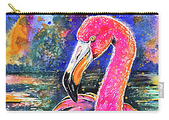 Water Lily And Flamingo Carry-all Pouch