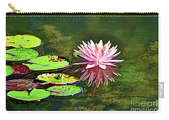 Water Lily And Frog Carry-all Pouch by Savannah Gibbs