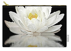 Water Lily Reflections On Black Carry-all Pouch by Gill Billington