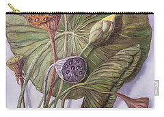 Water Lily Seed Pods Framed By A Leaf Carry-all Pouch