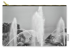 Water Spray - Swann Fountain - Philadelphia In Black And White Carry-all Pouch by Bill Cannon