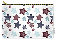 Watercolor Blue Red Stars Carry-all Pouch