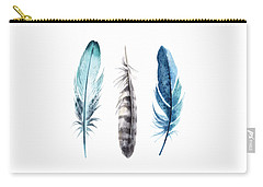 Watercolor Feathers Carry-all Pouch by Jaime Friedman