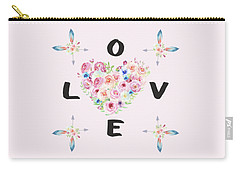 Carry-all Pouch featuring the painting Watercolor Flowers Arrows Love Typography by Georgeta Blanaru