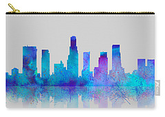 Carry-all Pouch featuring the digital art Watercolor Los Angeles Skylines On An Old Paper by Georgeta Blanaru