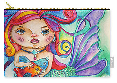 Watercolor Mermaidia Mermaid Painting Carry-all Pouch by Shelley Overton