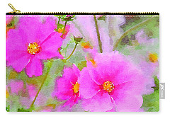 Carry-all Pouch featuring the painting Watercolor Pink Cosmos by Bonnie Bruno