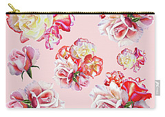 Carry-all Pouch featuring the painting Watercolor Roses Pink Dance by Irina Sztukowski