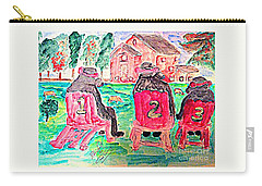 Watercolor Three Bears Visiting A Farm In Tuscany Carry-all Pouch