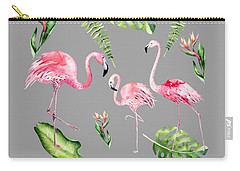 Carry-all Pouch featuring the painting Watercolour Flamingo Family by Georgeta Blanaru