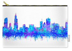 Carry-all Pouch featuring the painting Watercolour Splashes And Dripping Effect Chicago Skyline by Georgeta Blanaru