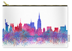 Carry-all Pouch featuring the digital art Watercolour Splashes New York City Skylines by Georgeta Blanaru