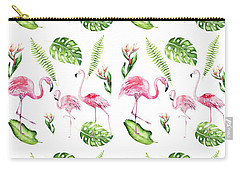 Carry-all Pouch featuring the painting Watercolour Tropical Beauty Flamingo Family by Georgeta Blanaru