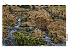 Carry-all Pouch featuring the photograph Waterfall At Glendevon In Scotland by Jeremy Lavender Photography