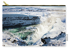 Carry-all Pouch featuring the photograph Waterfall Gullfoss Iceland In Winter by Matthias Hauser