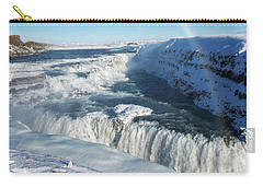 Carry-all Pouch featuring the photograph Waterfall Gullfoss In Winter Iceland Europe by Matthias Hauser