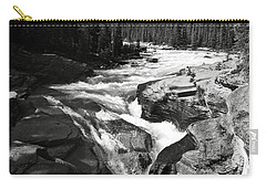 Carry-all Pouch featuring the photograph Waterfall In Banff National Park Bw by RicardMN Photography