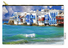 Waterfront At Mykonos Carry-all Pouch by Dominic Piperata