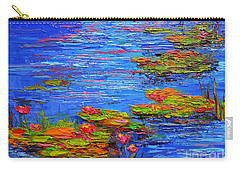 Carry-all Pouch featuring the painting Waterlily Pond - Lily Pads In A Morning Light - Modern Impressionist Knife Palette Oil Painting by Patricia Awapara