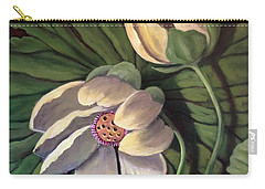 Carry-all Pouch featuring the painting Waterlily Like A Clock by Randol Burns