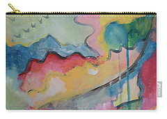 Carry-all Pouch featuring the digital art Watery Abstract by Susan Stone