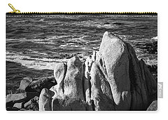 Carry-all Pouch featuring the photograph Wave Blowing By The Stong Wind At Th Pacific Ocean Coast With Ro by Jingjits Photography