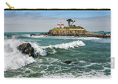 Carry-all Pouch featuring the photograph Wave Break And The Lighthouse by Greg Nyquist