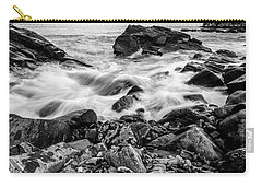 Carry-all Pouch featuring the photograph Waves Against A Rocky Shore In Bw by Doug Camara