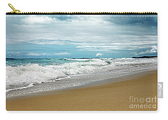 Carry-all Pouch featuring the photograph Waves Clouds And Sand By Kaye Menner by Kaye Menner