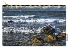 Waves Crashing Ashore At Northport Point On Lake Michigan Carry-all Pouch