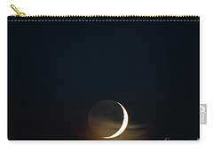 Carry-all Pouch featuring the photograph Waxing Crescent Moon With Jupiter And Moons by Ricky L Jones