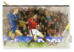 Wayne Rooney Of Manchester United Scores Carry-all Pouch by Don Kuing